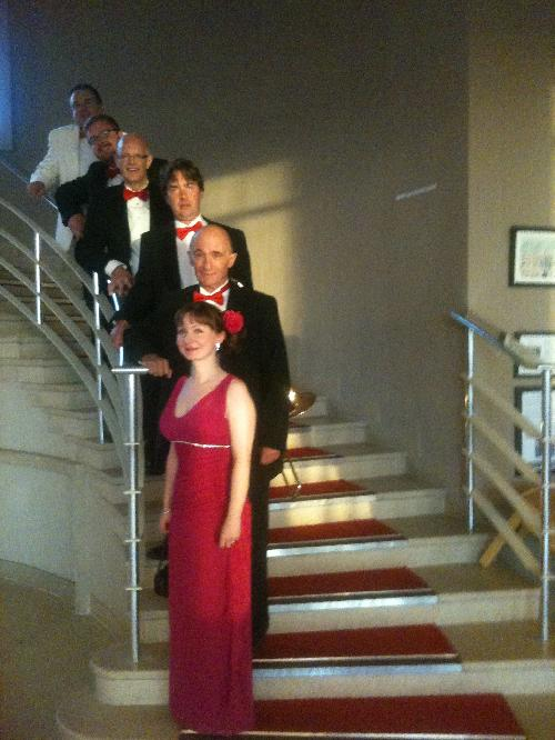 Stairway to the Stars ?  Some of the more elegant members of the band at the Midland Hotel